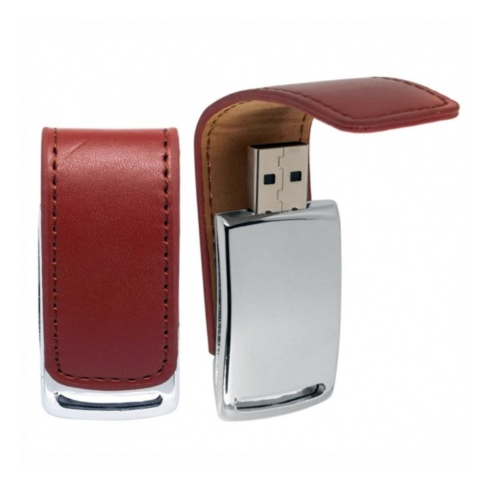 Pendrive chaveiro de Couro Marrom cromado  C203 8 GB