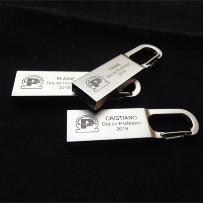 Pendrive chaveiro metal personalizado - Modelo P072 - 4 GB, 8 GB e 16 GB