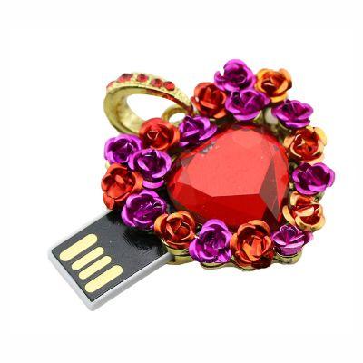 Pendrive coração diamante com flores - Pendrive Personalizado - HT02 - 8, 16, 32 GB