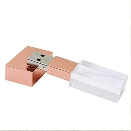 Pendrive Cristal Vidro Rose 8 Gb - Pronta Entrega + Brinde