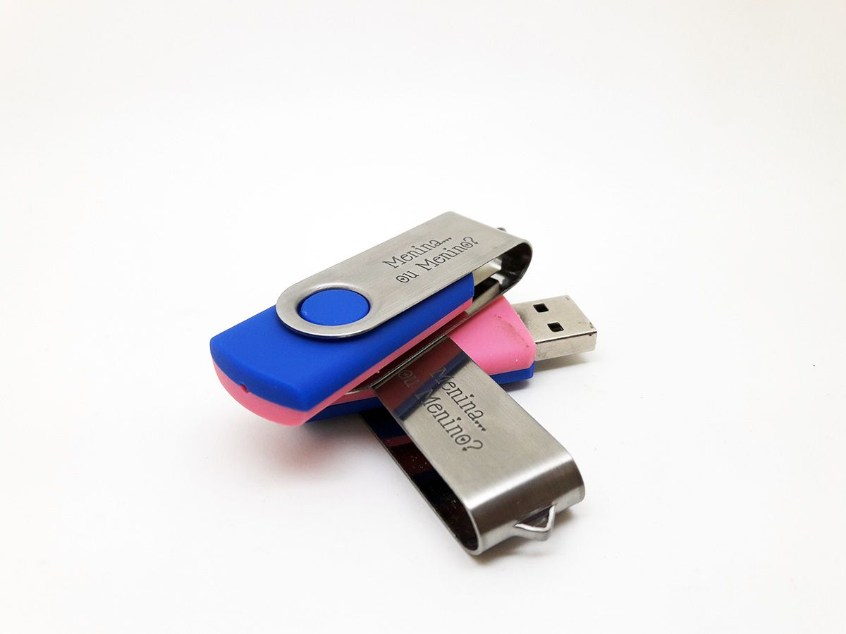 Pendrive F126 Azul e Rosa Chá Revelação – 4 GB