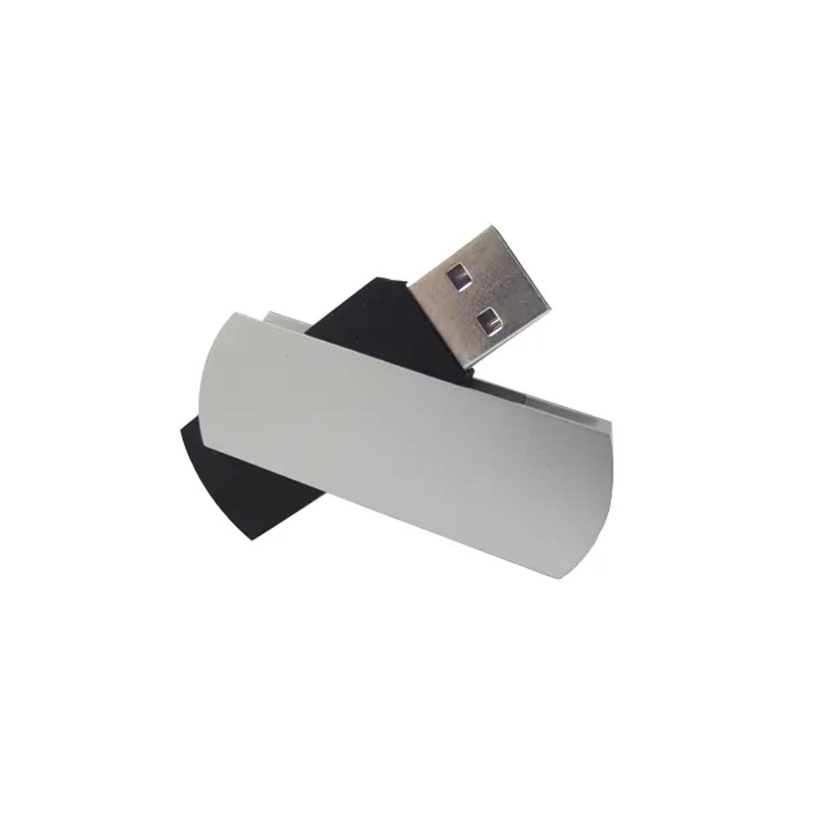 Pendrive Giratório Preto e Prata de 64 GB USB 2.0