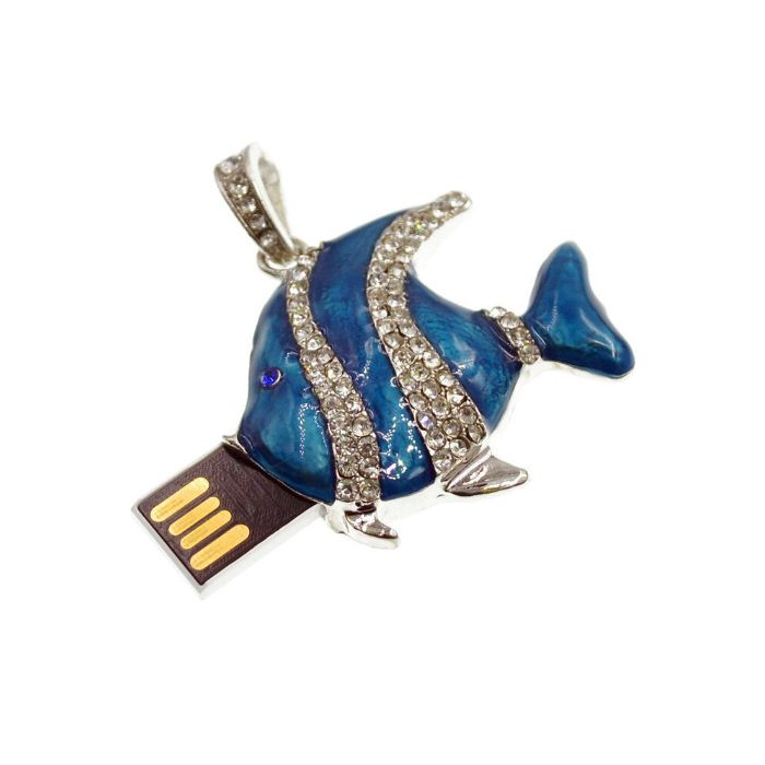 Pendrive Jóia Peixe Carpa Azul - Pendrive Personalizado 16, 32 e 64 GB