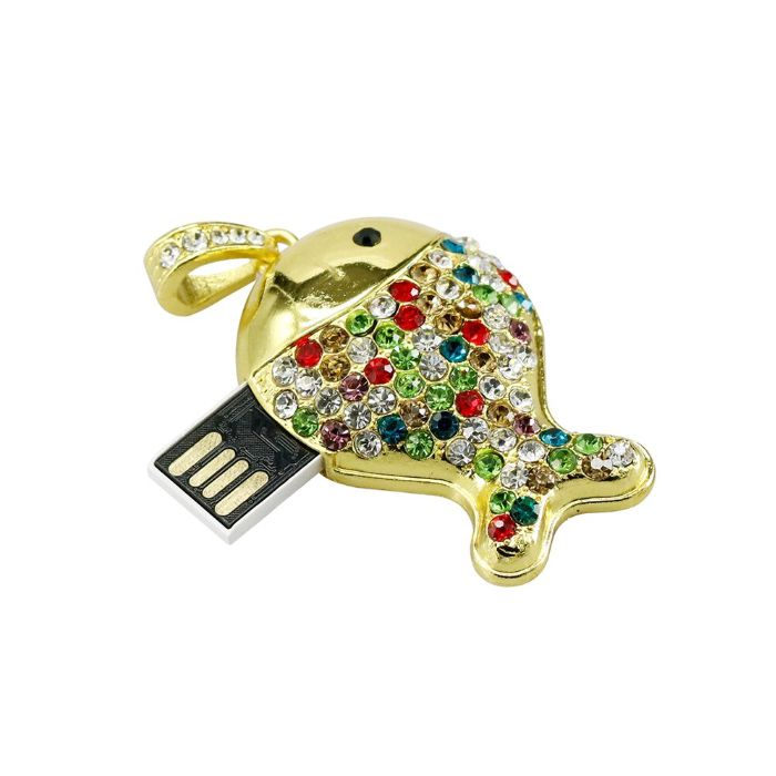 Pendrive Peixe Dourado strass colorido - Pendrive Personalizado 16, 32 e 64 GB