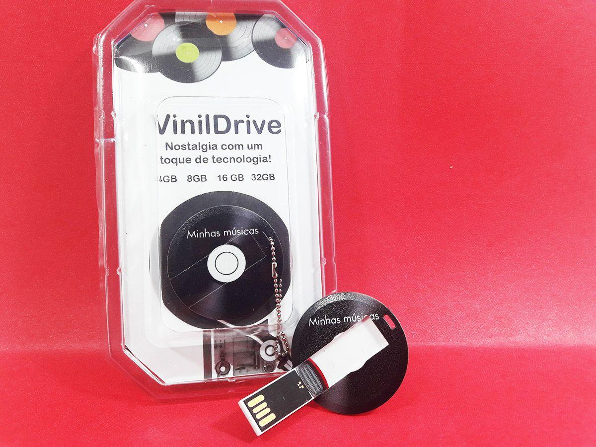 Pendrive Personalizado formato disco de Vinil - Vinil Drive de 4, 8 ou 16 GB
