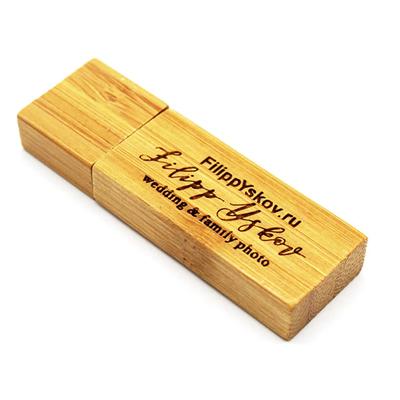 Pendrive Wood Slim Bambu - Pendrive para Fotógrafos - 4 GB, 8 GB e 16 GB