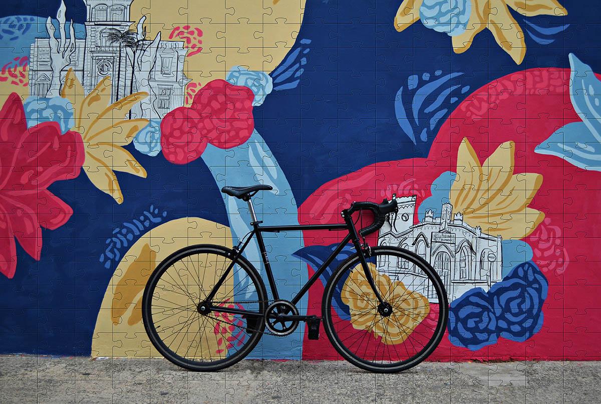 Presente para Ciclistas Quebra cabeça 165 peças bicicleta - Coleção art Bike + Toalha