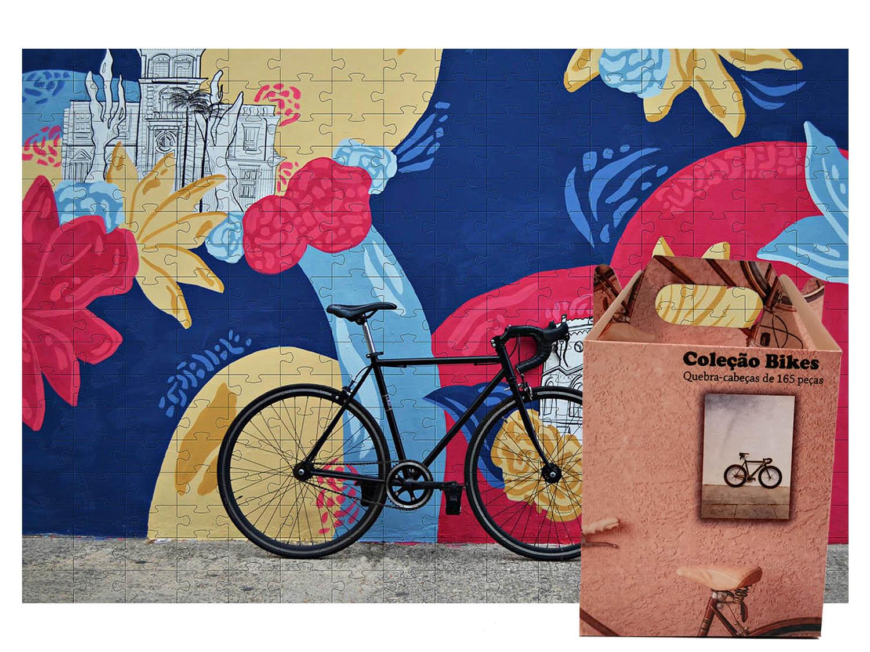 Presente para Ciclistas Quebra cabeça 300 peças bicicleta - Coleção art Bike + Toalha