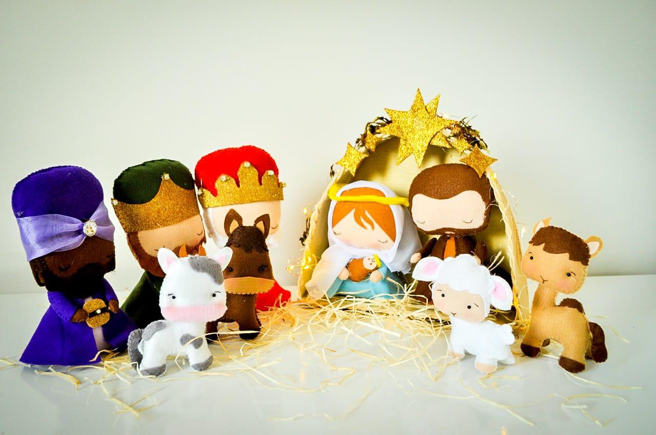 Presépio Artesanal em Feltro completo nascimento de Jesus