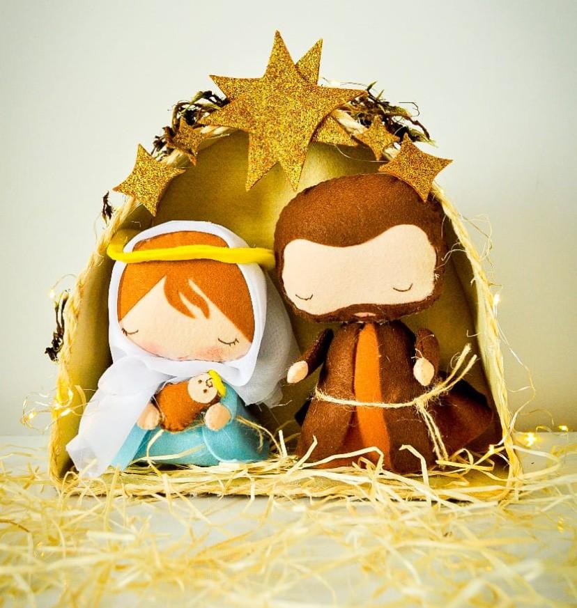 Presépio Artesanal em Feltro Sagrada Familia + Arvore de natal com fotos A3