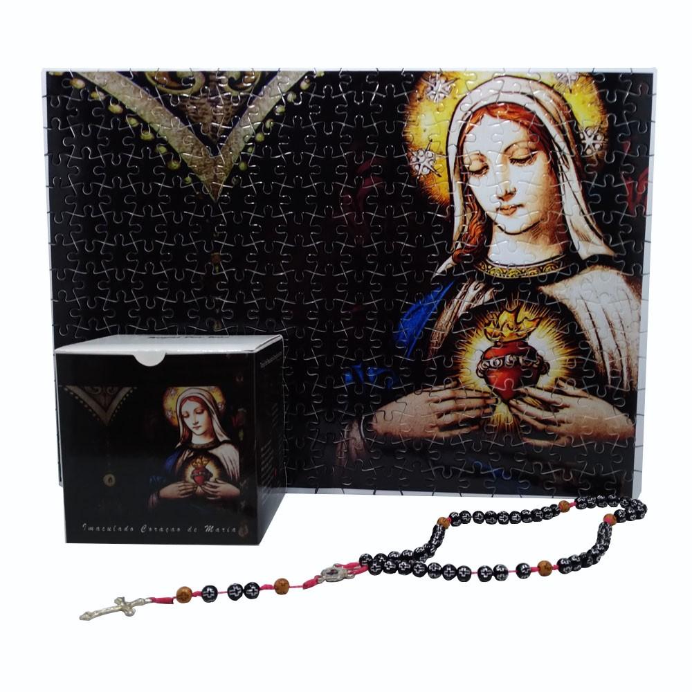 Quadro Decorativo Quebra-Cabeça Imaculado Coração de Maria de 165 peças + Terço Especial