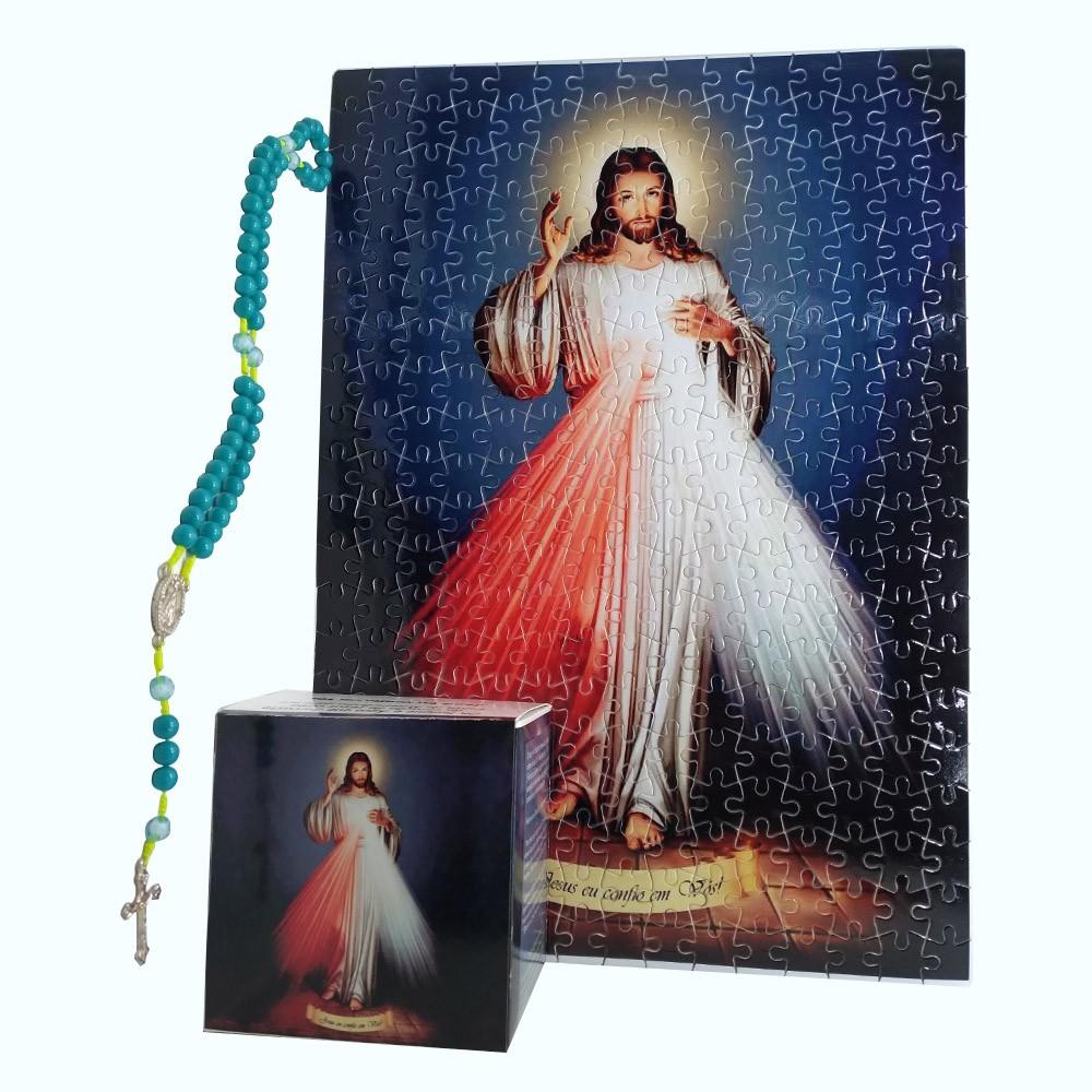 Quadro Decorativo Quebra-Cabeça Jesus Misericordioso de 165 peças + Terço Especial