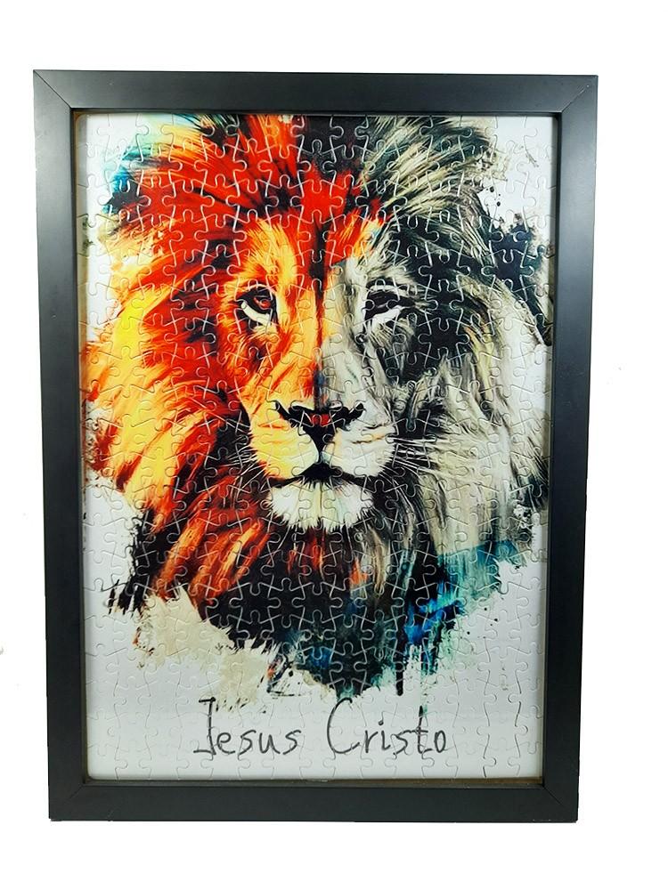Quadro Decorativo Quebra-Cabeça Leão de Judá de 300 peças + Terço Especial