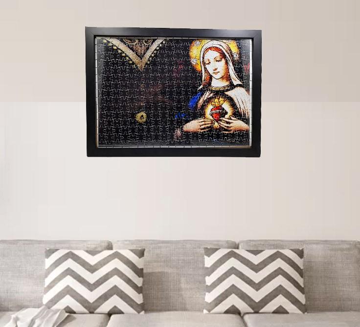 Quadro Decorativo Quebra-Cabeça Nossa Senhora Aparecida de 165 peças + Terço Especial