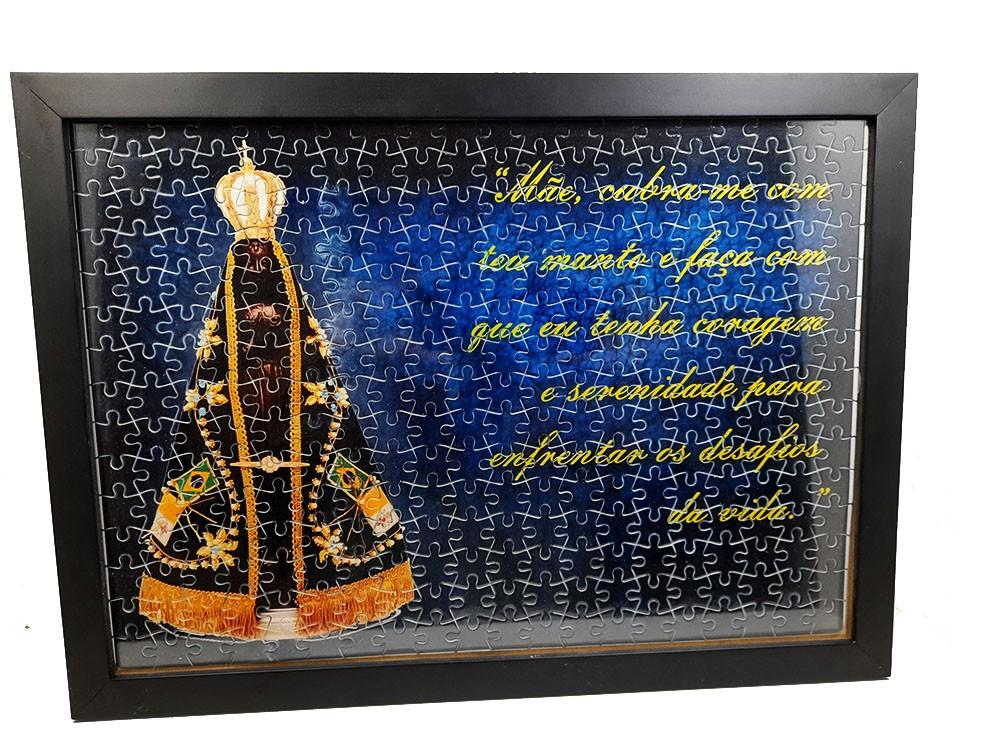 Quadro Decorativo Quebra-Cabeça Nossa Senhora Aparecida de 300 peças + Terço Especial