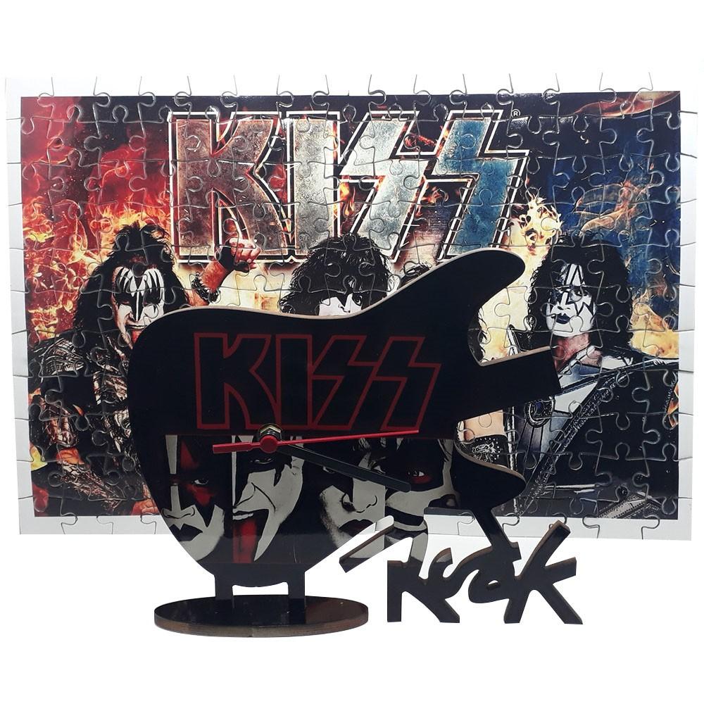 Quebra-Cabeça 165 peças Kiss + Relógio Guitarra Kiss