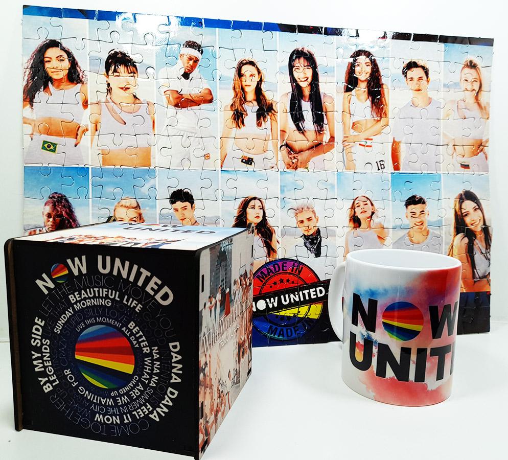 Quebra-cabeça 165 peças Now United + Caneca Color Now united + caixa Fã 2021