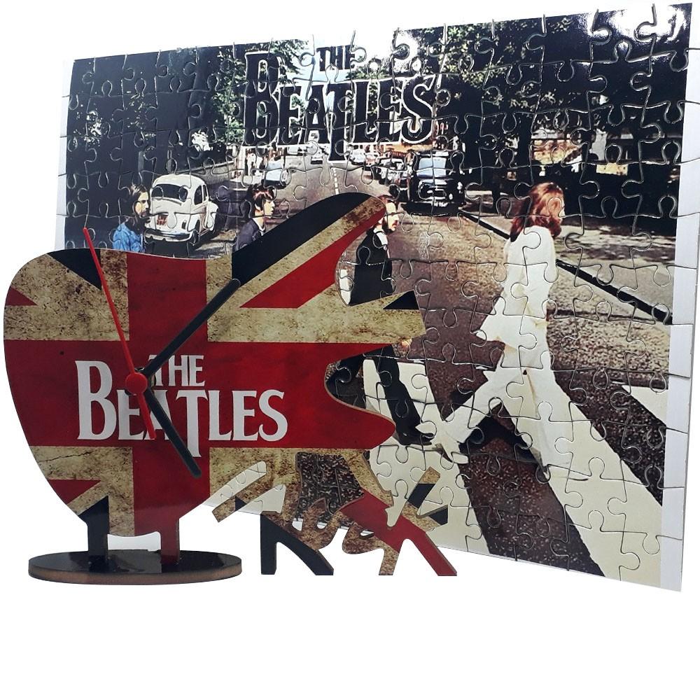 Quebra-Cabeça 165 peças The Beatles + Relógio Guitarra Beatles
