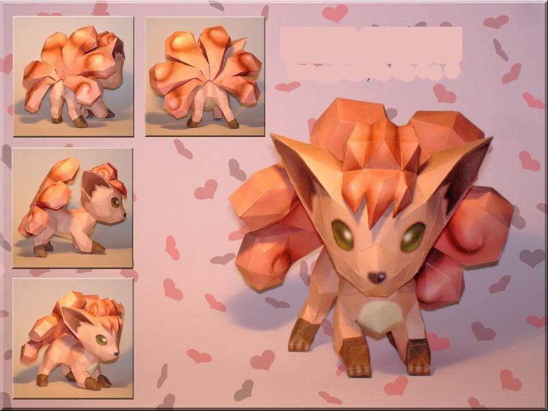 Impressão de Quebra-Cabeça 3D Pokemon Vulpix Paper Craft