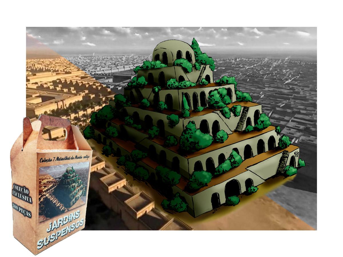 Quebra-cabeça 7 Maravilhas do Mundo - Jardins Suspensos - 300 peças