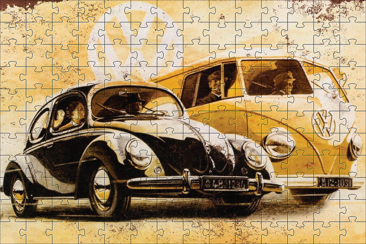 Quebra-Cabeça Cognitivo para Idosos Nostalgia Fusca e kombi  - 60 peças