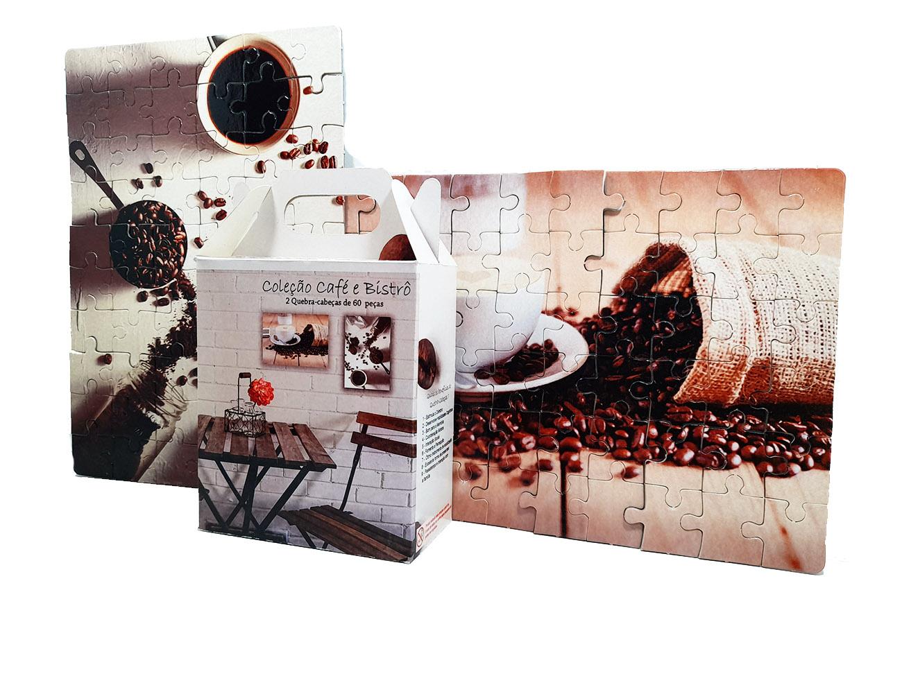 Quebra-Cabeça Cognitivo Reabilitação para Idosos - Café e Bistrô de 48 peças