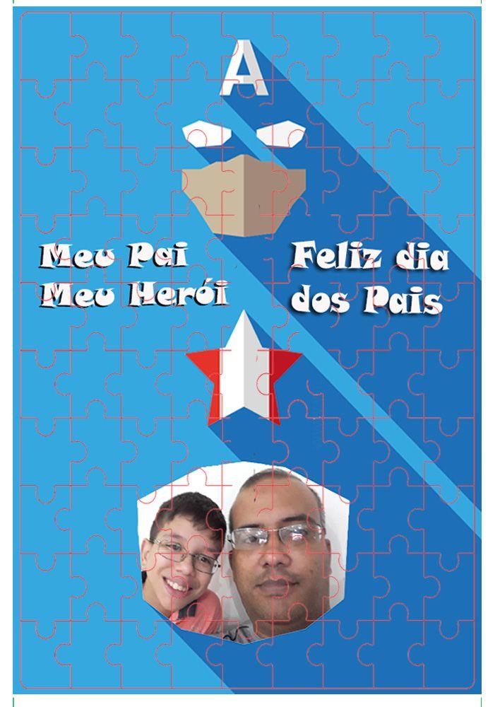 Quebra-Cabeça com foto Dia dos Pais - Meu Pai Meu Herói - 165 peças