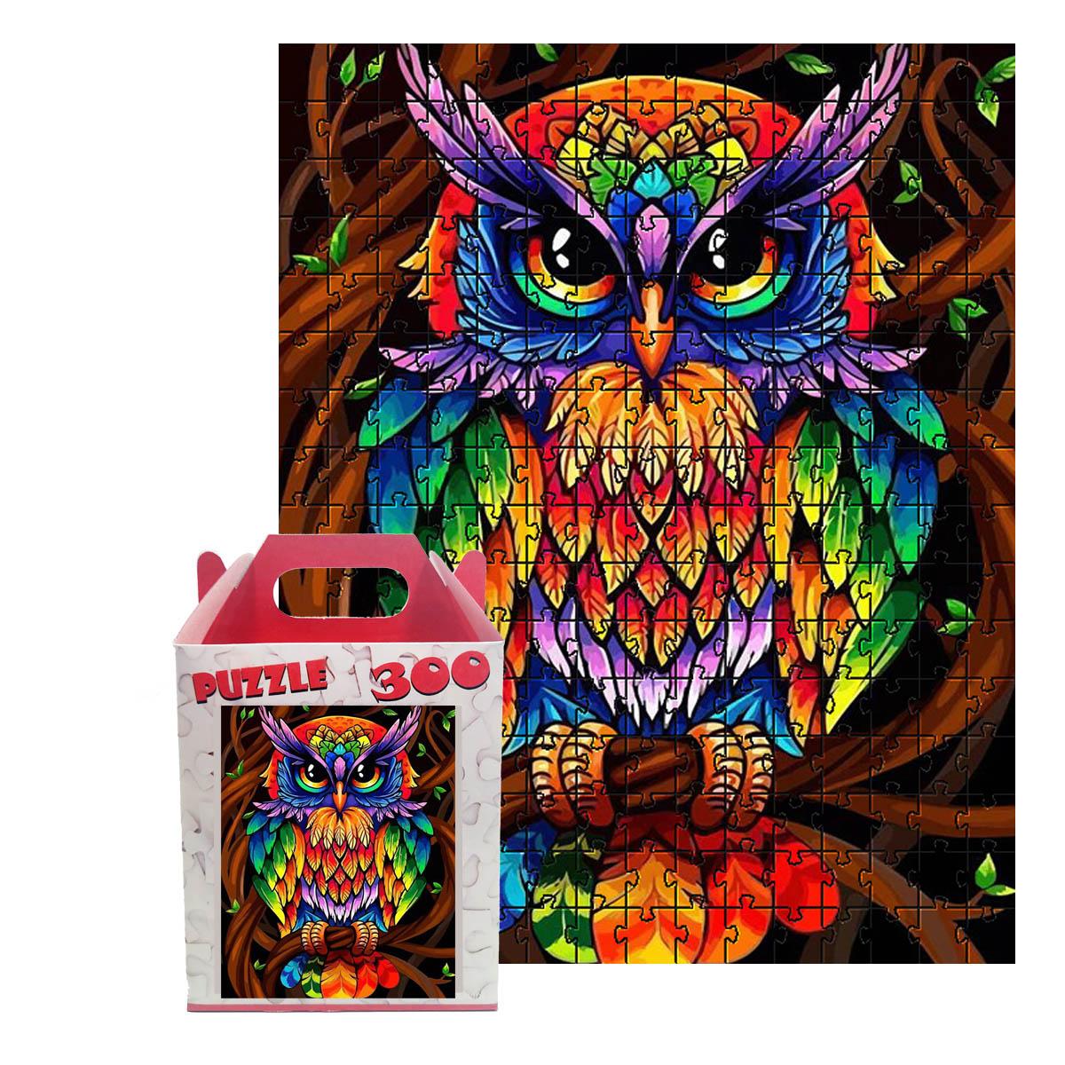 Quebra-cabeça Coruja Colorida Puzzle de 300 peças