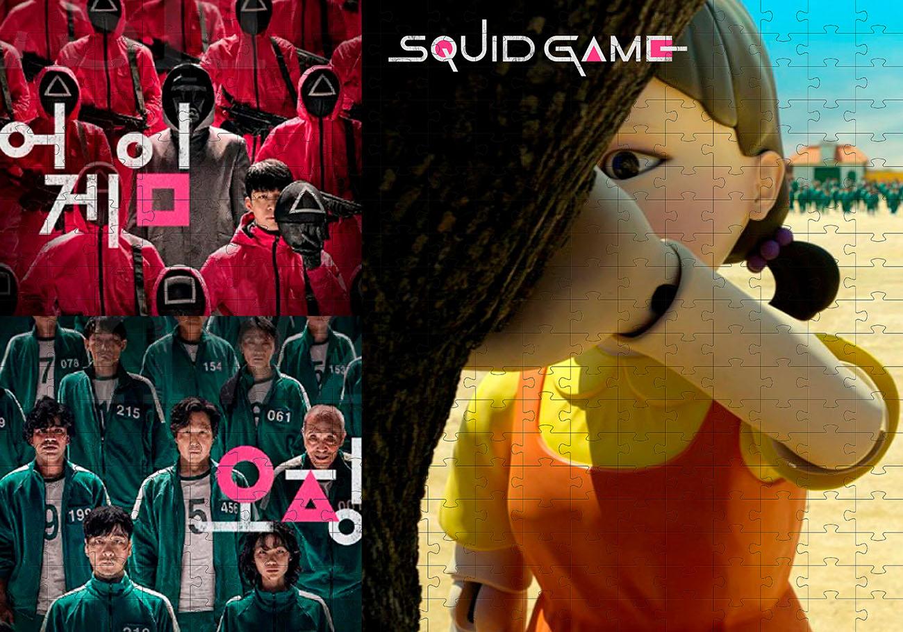 Quebra-cabeça Desafio Jogo Round 6 Squid Game De 90 Peças ou 165 peças