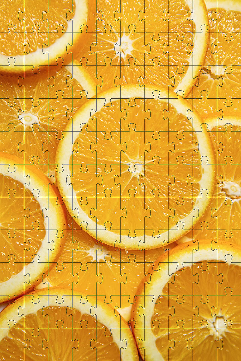 Quebra-Cabeça Frutas Coloridas de 252 peças + chaveiro