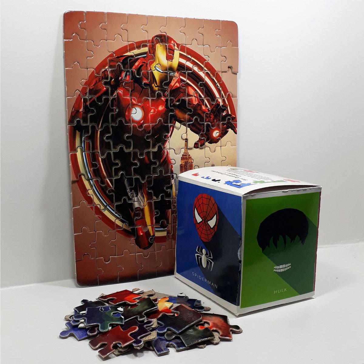 Quebra-cabeça Homem de Ferro + Caixa Heróis
