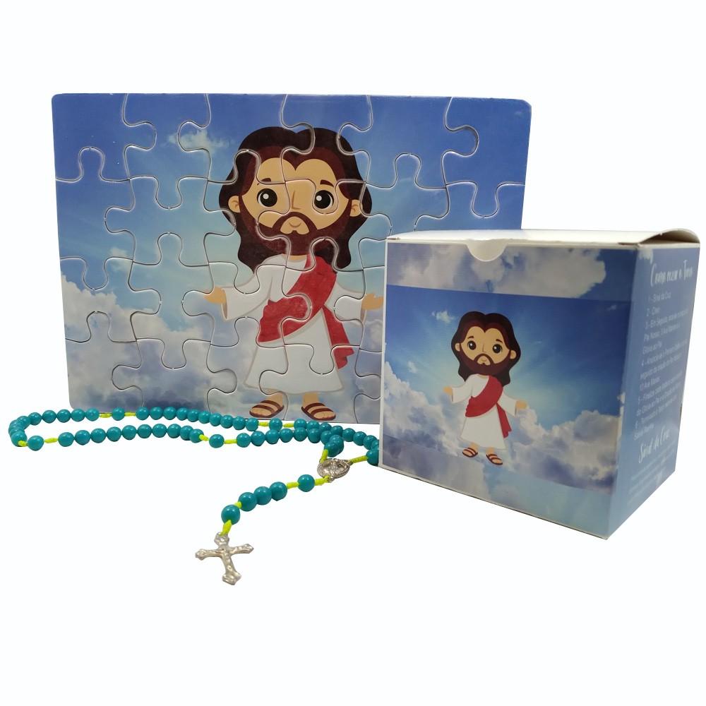Quebra-Cabeça Infantil Jesus Ressuscitado de  60 peças com Terço