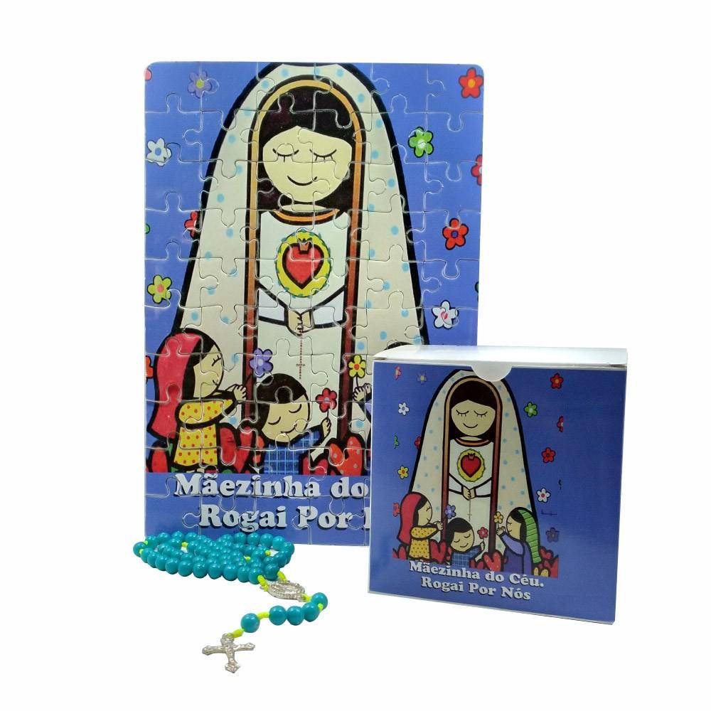 Quebra-Cabeça Infantil Nossa Senhora de Fátima 60 peças com Terço