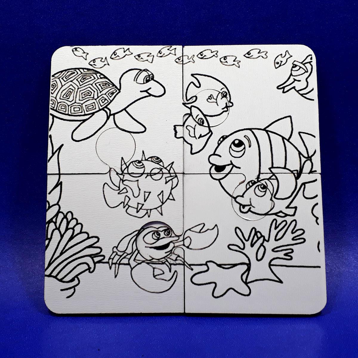 6 Quebra-cabeças MDF 4 peças para Colorir com Caneta