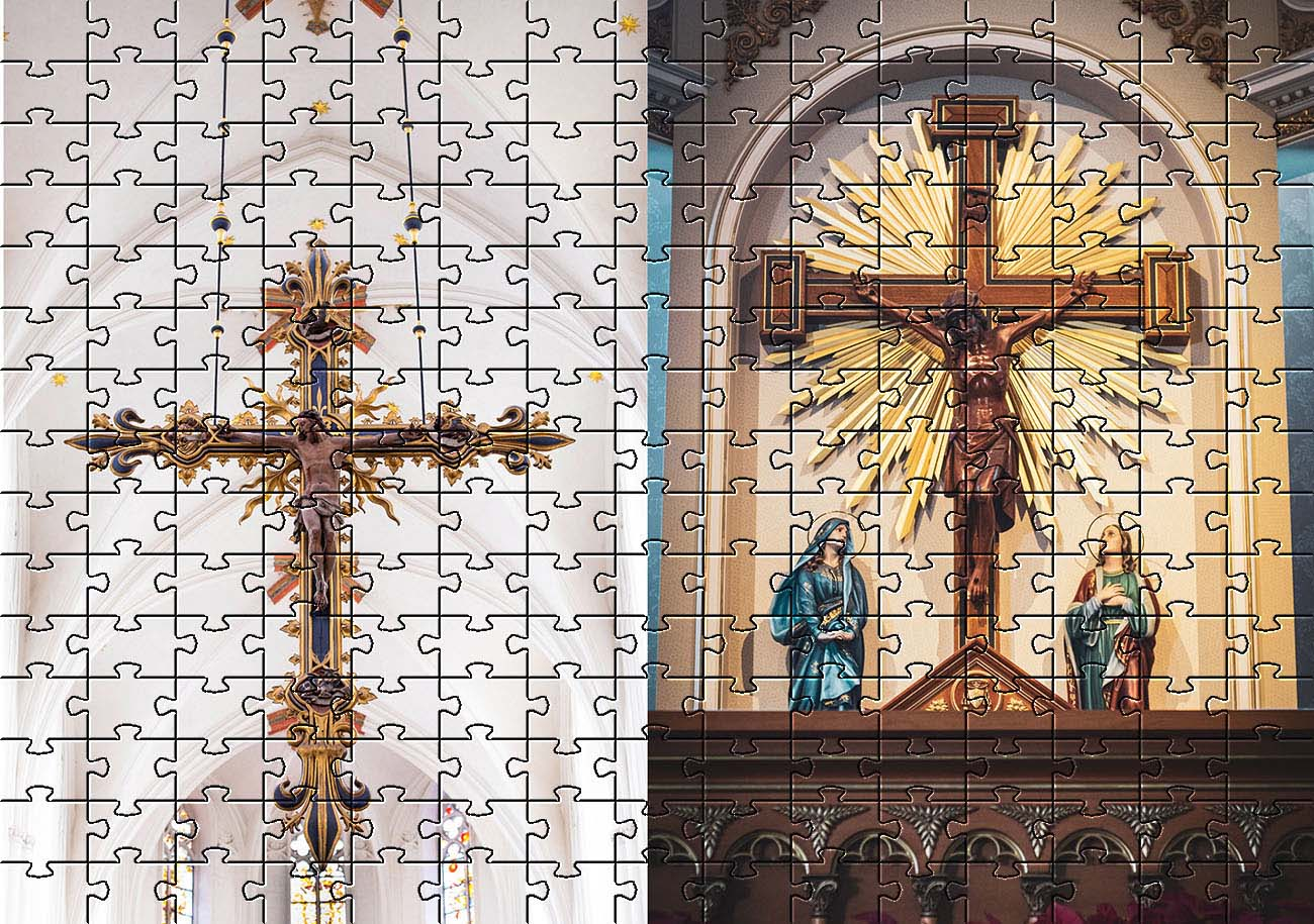 Quebra-Cabeça Panorâmico 2 x 300 peças Arte Religiosa
