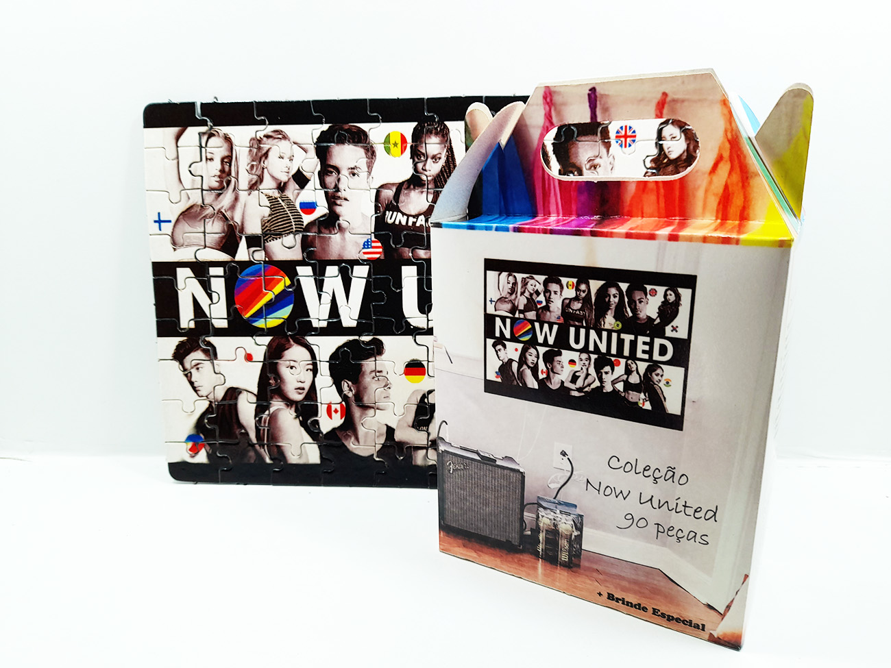 Quebra-cabeça personalizado 300 peças Fã Now United + brinde