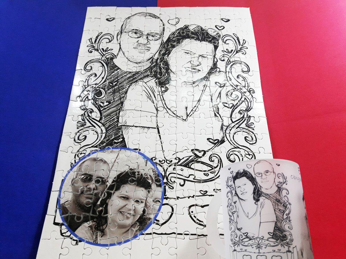 Quebra-Cabeça Personalizado Desenho Nanquim 165 peças + caneca de vidro