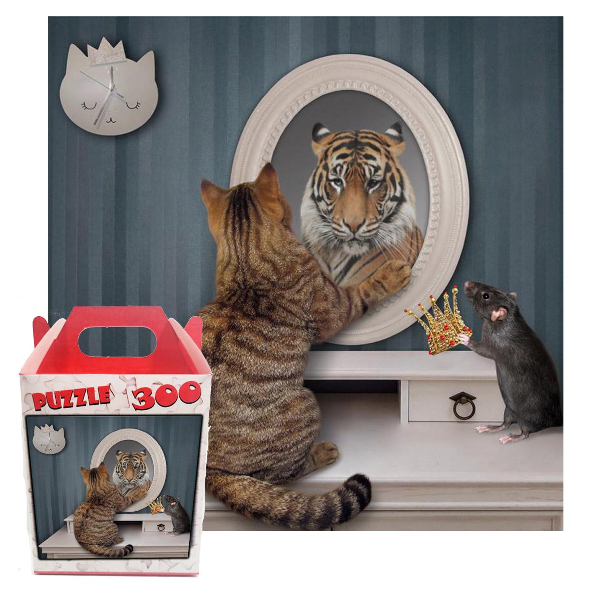 Quebra-cabeça Puzzle Gato no Espelho de 300 peças