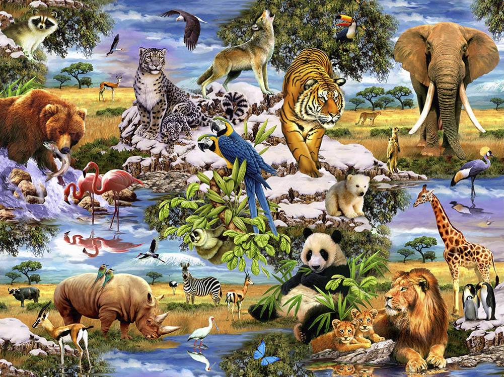 Quebra-cabeça Puzzle Reunião de Animais de 300 peças