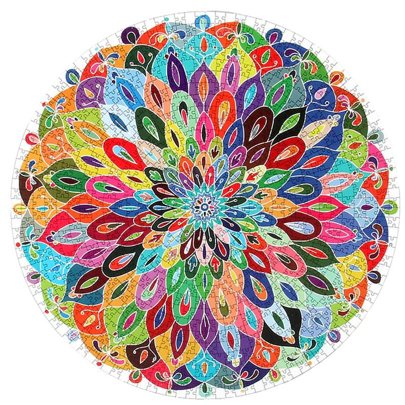 Quebra-Cabeça Redondo Mandala de 1000 peças - Pronta Entrega + caixa especial