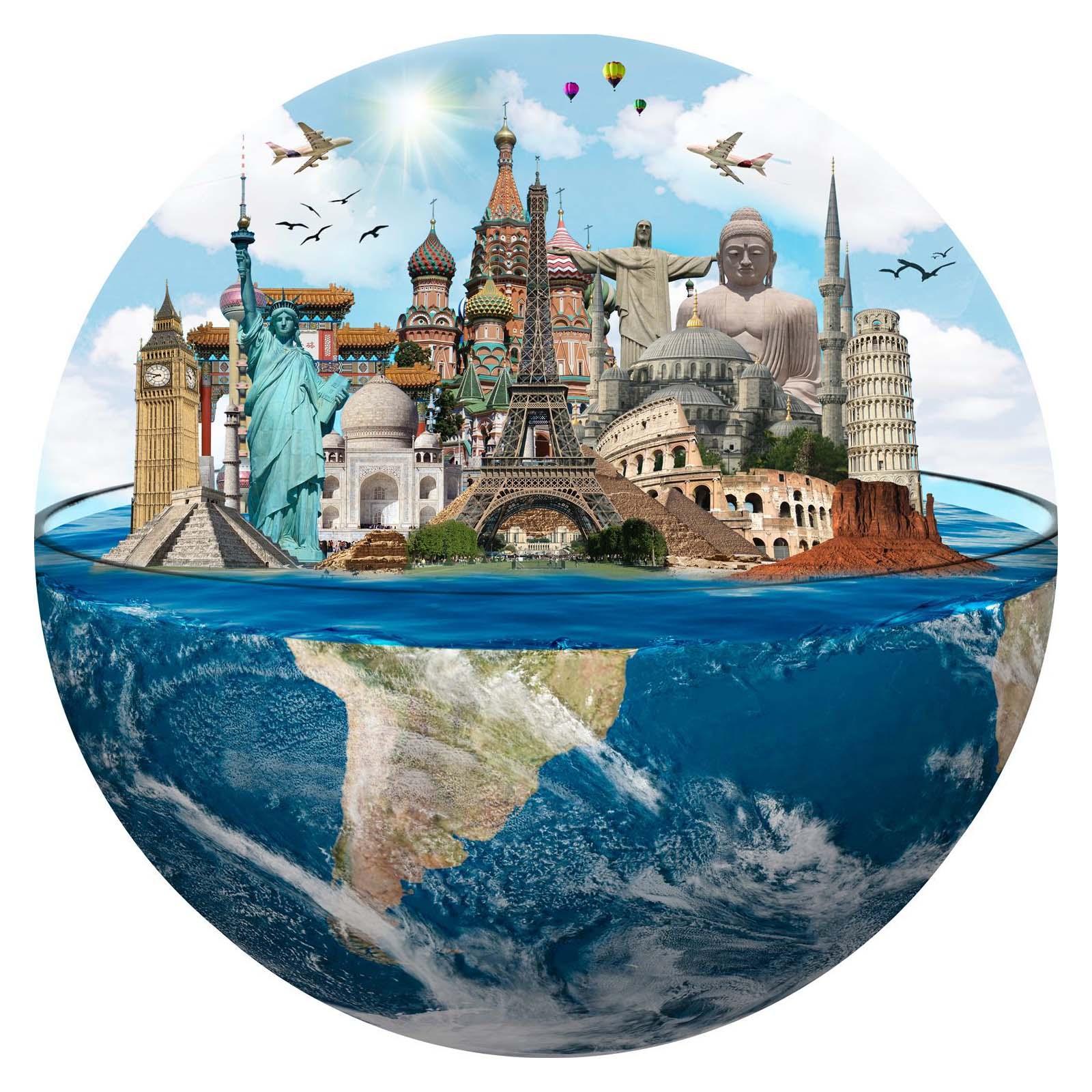 Quebra-Cabeça Redondo Mundo de 1000 peças - Pronta Entrega + caixa especial