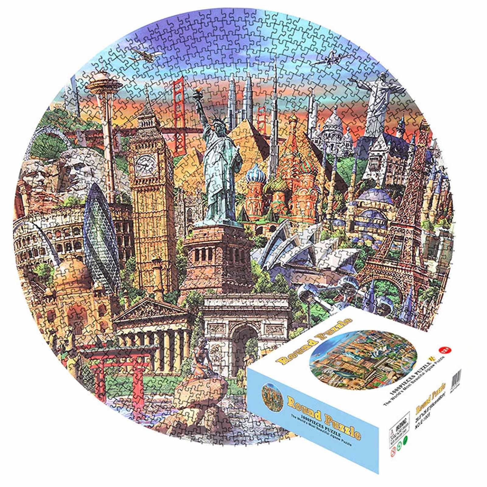 Quebra-Cabeça Redondo World de 1000 peças - Pronta Entrega