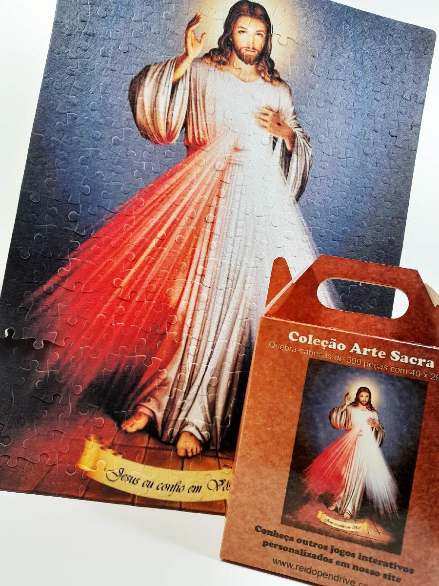 Quebra-Cabeça Religioso Jesus Misericordioso de 300 peças + Terço Especial