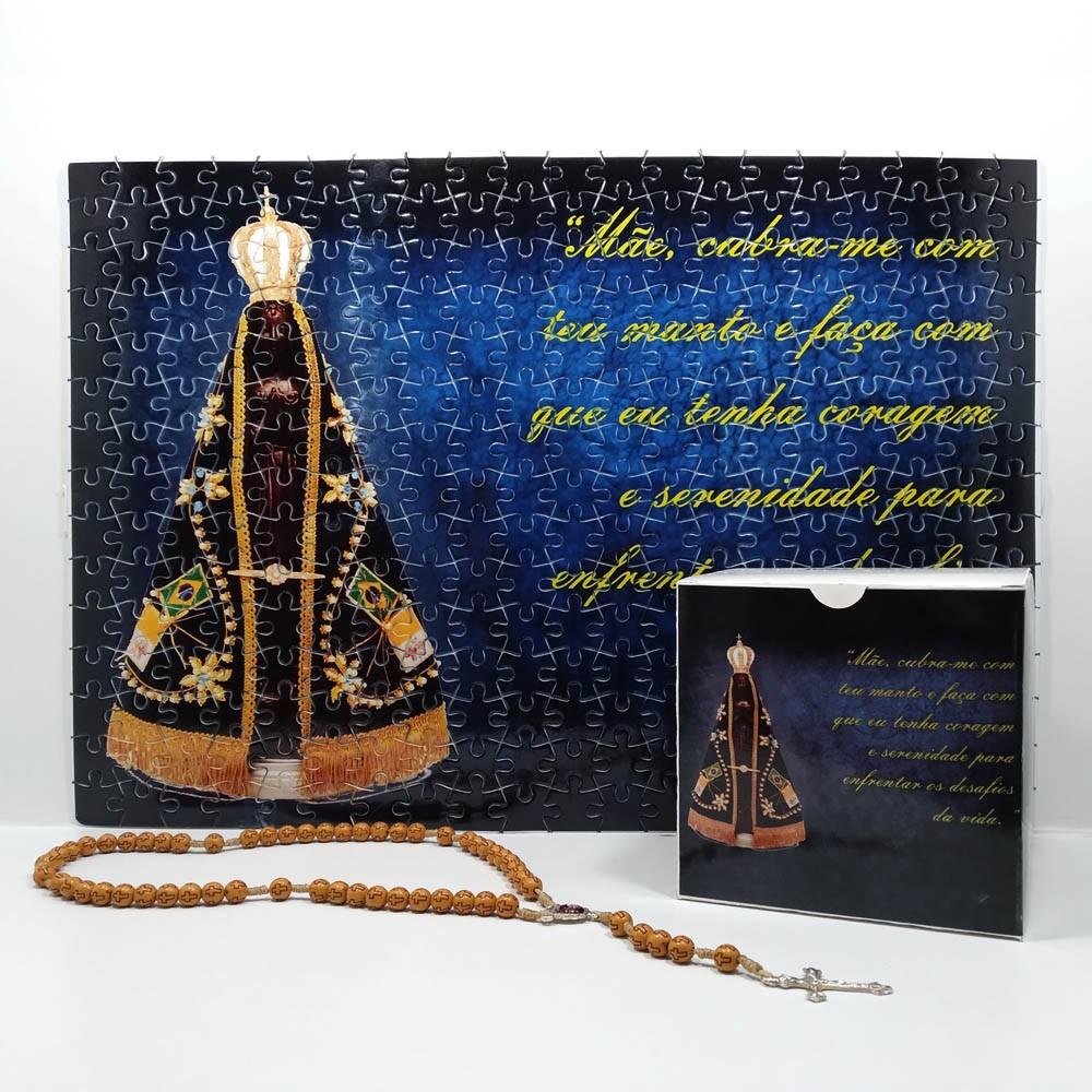 Quebra-Cabeça Religioso Nossa Senhora Aparecida de 300 peças + Terço Especial