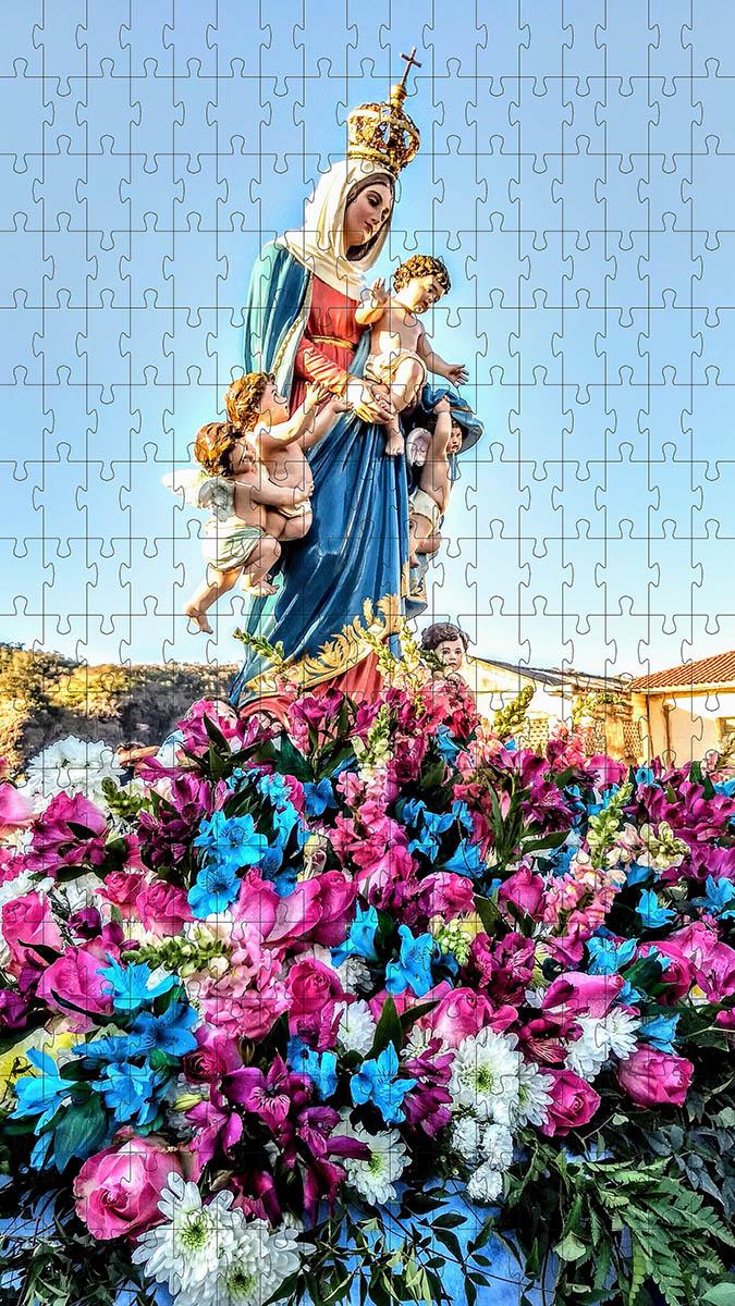 Quebra-Cabeça Religioso Nossa Senhora Rainha do Anjos 1000 peças + Terço Especial