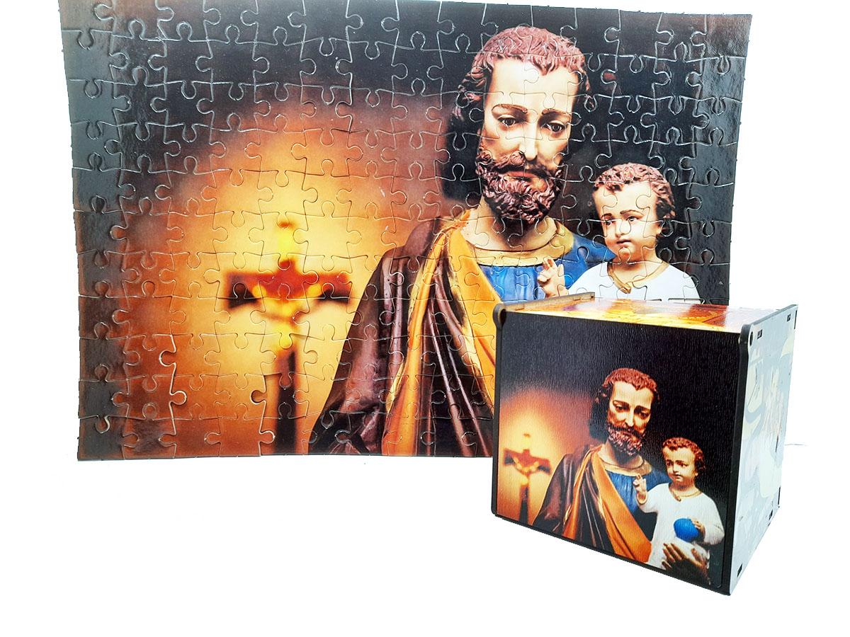 Quebra-cabeça São José de 165 peças + caixa de mdf presente