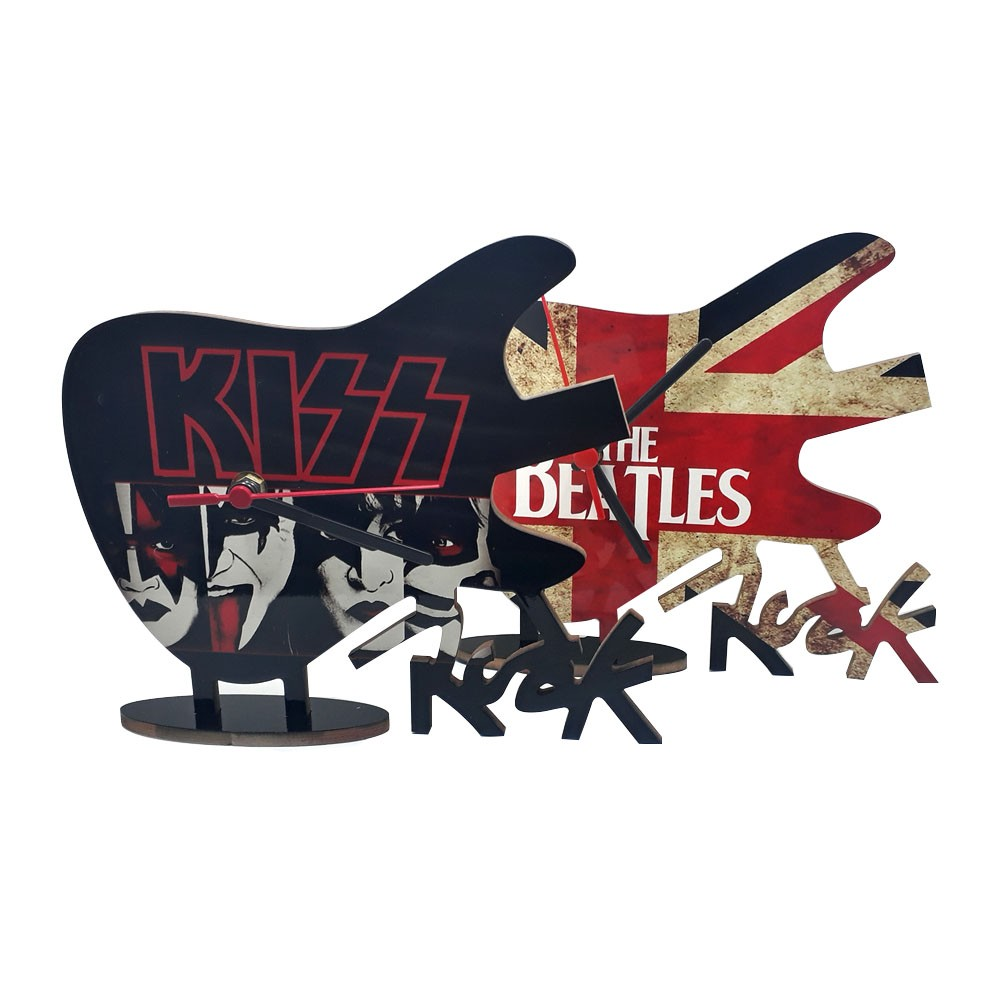 Relógio Guitarra em MDF The Beatles ou Kiss