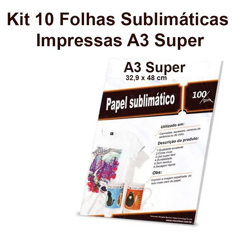 Serviço de Impressão em Folhas Sublimáticas A3 Super