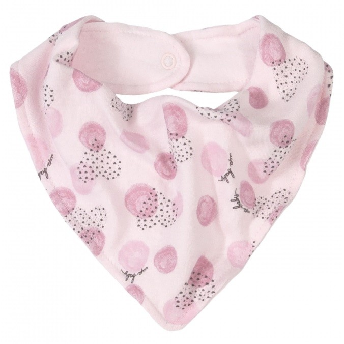 BABADOR BANDANA ROSA ESTAMPA CORAÇÕES - UP BABY ESSENTIALS