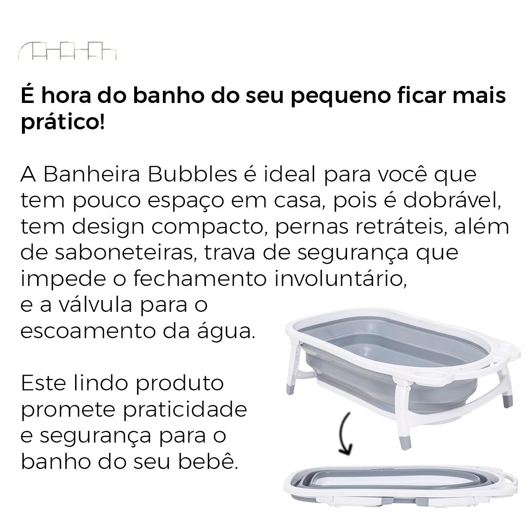 BANHEIRA DOBRÁVEL BUBBLES GRAFITE - KIDDO/WHOOP